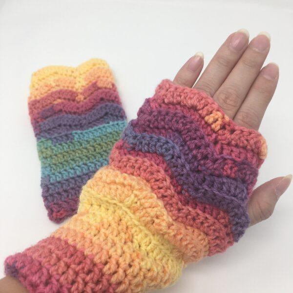 Rainbow Fingerless Mittens AGC-1003