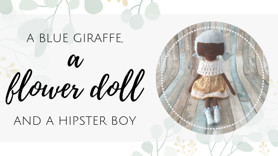 blue giraffe flower doll hipster boy
